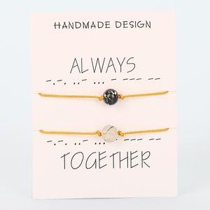 Jewelry - 8MM Lava Stone Yellow Rope Bracelet Set & Card